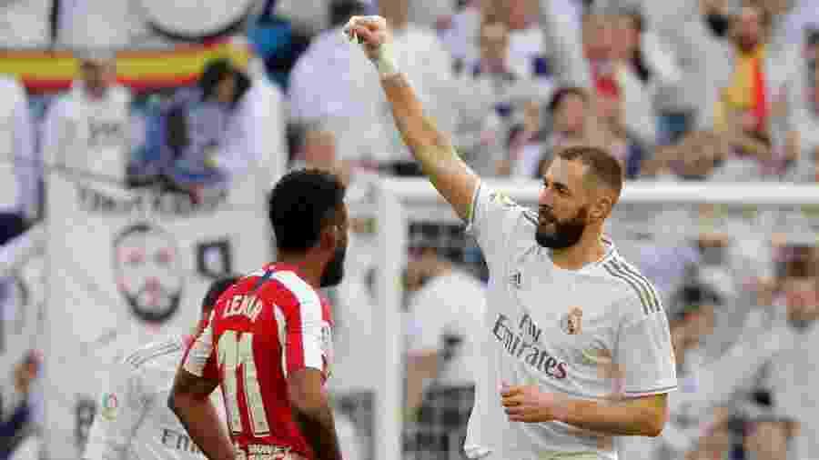 Benzema abre o placar para o Real Madrid contra o Atlético de Madri - Susana Vera/REUTERS