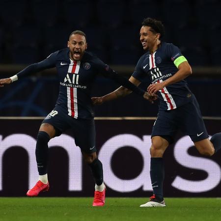 Neymar comemora gol do PSG sobre o Borussia Dortmund em jogo de volta pelas oitavas da Liga dos Campeões - AFP PHOTO / GETTY / UEFA