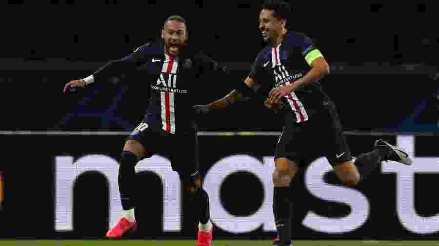 Neymar comemora gol do PSG sobre o Borussia Dortmund em jogo de volta pelas oitavas de final da Liga dos Campeões - AFP PHOTO / GETTY / UEFA