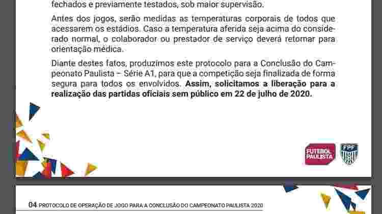 Protocolo FPF volta do Paulista - Reprodução - Reprodução