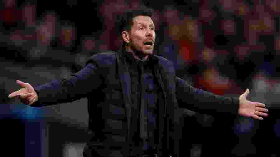 Técnico Diego Simeone, do Atlético, no jogo contra o Liverpool - Soccrates Images / Colaborador