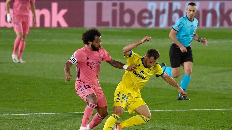 Marcelo não fez um bom jogo contra o Cádiz - Pierre-Philippe Marcou / AFP