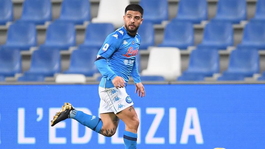 Lorenzo Insigne, durante partida entre Napoli e Sassuolo, pelo Campeonato Italiano - SSC NAPOLI/SSC NAPOLI via Getty Images