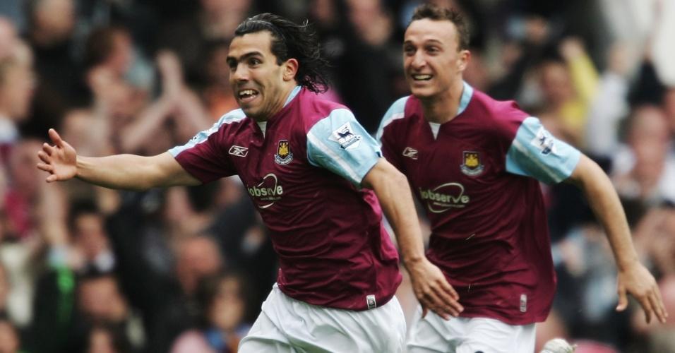 Carlitos Tevez comemora pelo West Ham