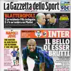 """Gazzetta dello Sport (Itália): """"Blatteropoli: Presidente da Fifa é indagado – e há uma sombra sobre Platini"""" - Reprodução"""