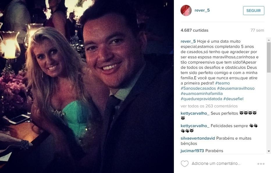 Réver usa redes sociais para se declarar à mulher, Giovana