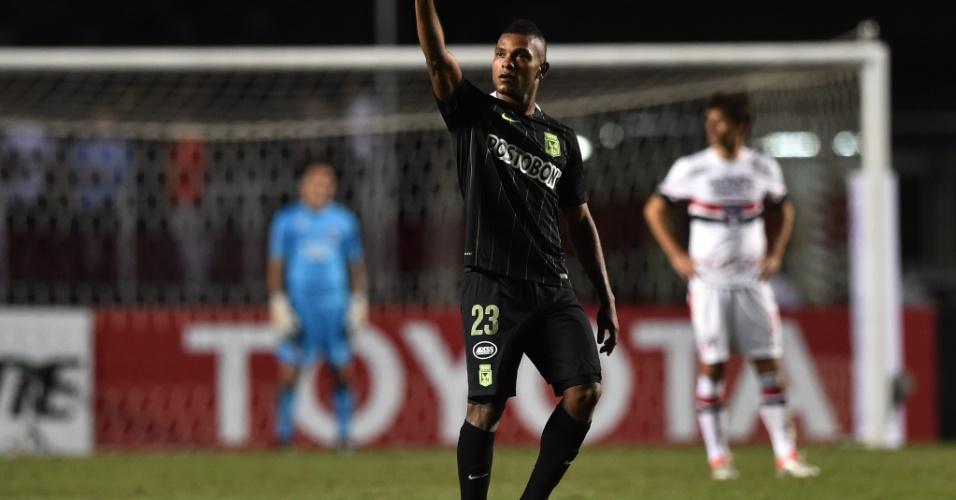 Miguel Borja, do Atletico Nacional, festeja gol contra o São Paulo