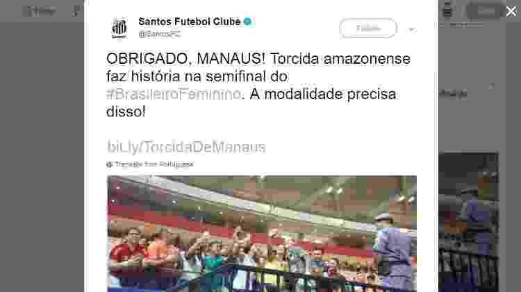 Twitter oficial do Santos agradece ao público de Manaus - Reprodução Twitter - Reprodução Twitter