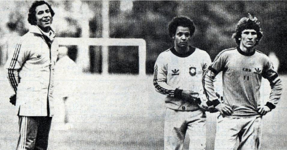 Claudio Coutinho, Reinaldo e Zico durante preparação do Brasil para a Copa do Mundo de 1978