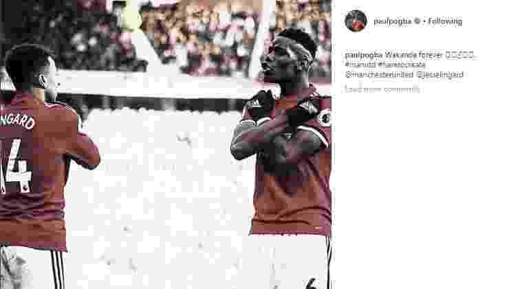 """Lingard e Pogba fazem o gesto do """"Pantera Negra"""" - Reprodução/Instagram - Reprodução/Instagram"""