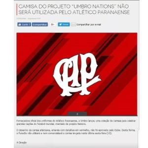 d2c4eac7693d3 Atlético-PR chegou a emitir um comunicado oficial rejeitando o modelo  amarelo Imagem  Reprodução