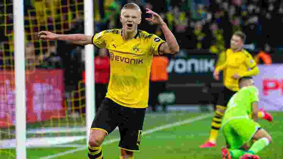 Erling Haaland, do Borussia Dortmund, é uma das estrelas do Campeonato Alemão - Guido Kirchner/picture alliance via Getty Images