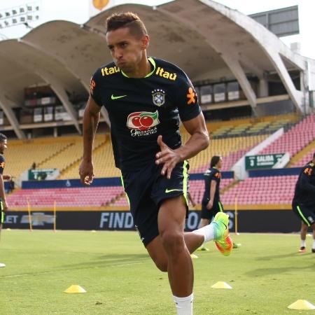 Marquinhos participa do treino da seleção brasileira; zagueiro estava lesionado nas últimas semanas - Lucas Figueiredo/CBF