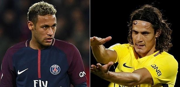 Fomontagem com Neymar e Cavani, atacantes do PSG