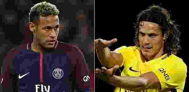 Fomontagem com Neymar e Cavani, atacantes do PSG - Fotomontagem: Franck Fife/AFP e Gonzalo Fuentes/Reuters