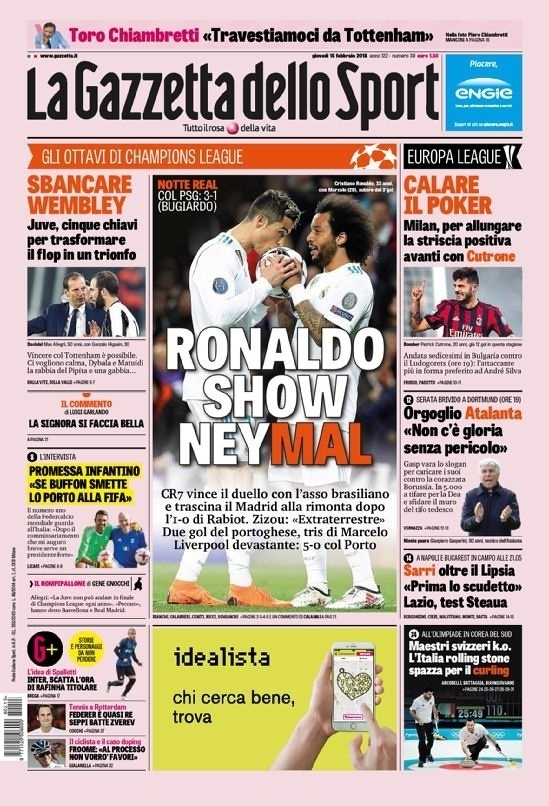 Capa Gazzetta dello Sport (15/2)