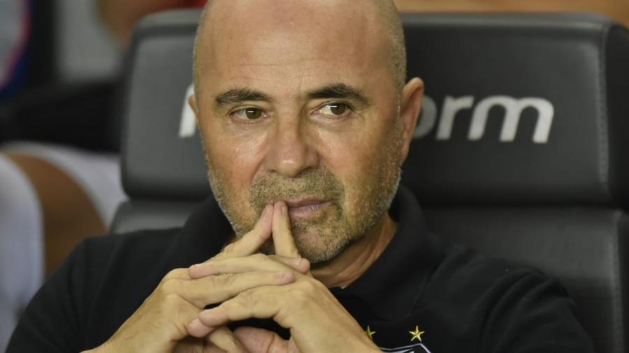 Jorge Sampaoli, durante o jogo entre Santos e Atlético-MG  - Ivan Storti/Santos FC