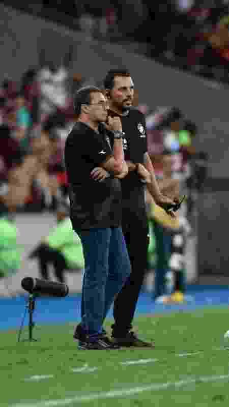 Copertino e Luxemburgo no empate em 4 a 4 com o Flamengo, quando o esquema do Vasco foi elogiado - Divulgação / Marcos Braz