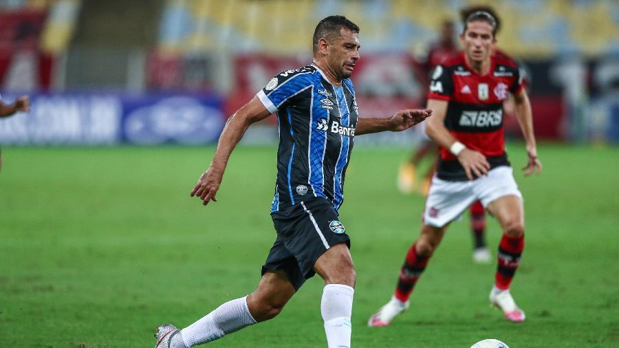Diego Souza volta ao time titular do Grêmio na partida contra o Caxias, que define o título - Lucas Uebel/Grêmio FBPA