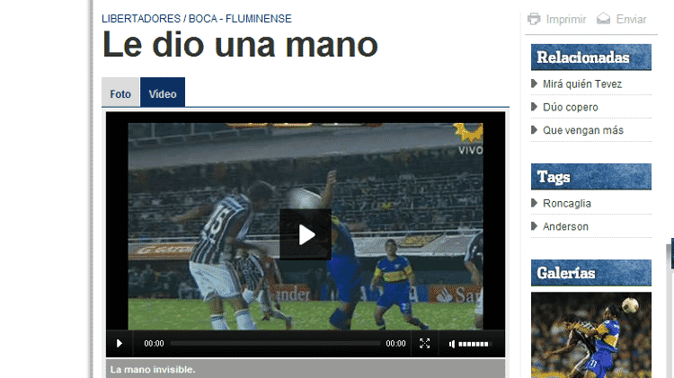 Imprensa argentina comemora atuação de juiz de Boca Juniors x Fluminense na Libertadores em 2012 - Reprodução - Reprodução