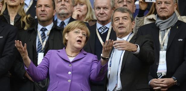 Chanceler alemã Angela Merkel esteve na primeira partida da final da Liga dos Campeões, em maio de 2013 - ADRIAN DENNIS / AFP
