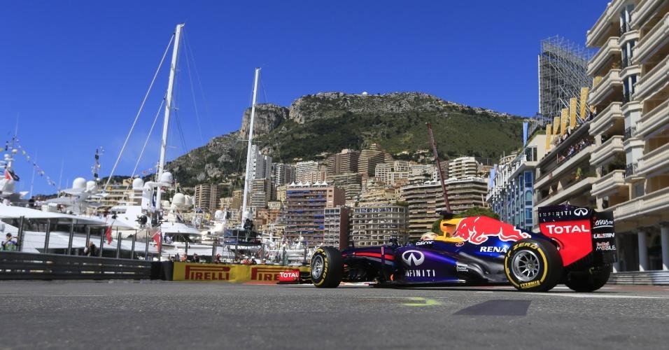 25.mai.2013 - Tricampeão mundial, Sebastian Vettel treina para o Grande Prêmio de Mônaco