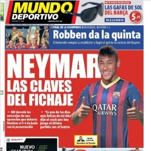 Capa do jornal espanhol Mundo Deportivo dá destaque para contratação de Neymar