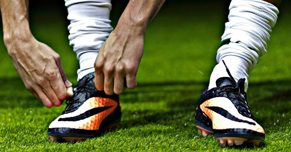 28.05.2013 - Detalhe da nova chuteira da Nike que o atacante Neymar vestirá na Copa das Confederações, atuando pela seleção brasileira