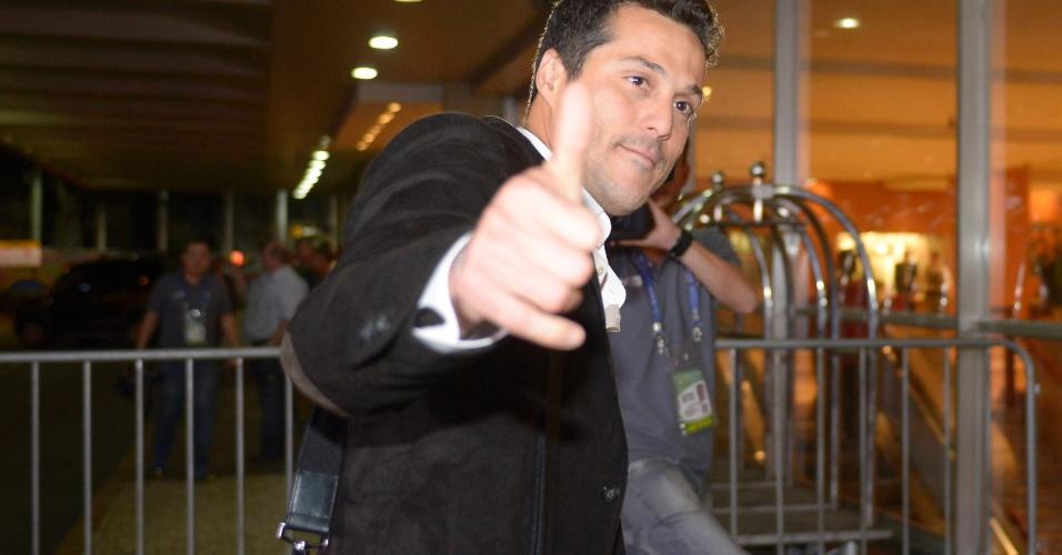 28.05.2013 - Júlio César, goleiro da seleção brasileira, esbanja simpatia ao se apresentar à equipe de Luiz Felipe Scolari no Rio de Janeiro