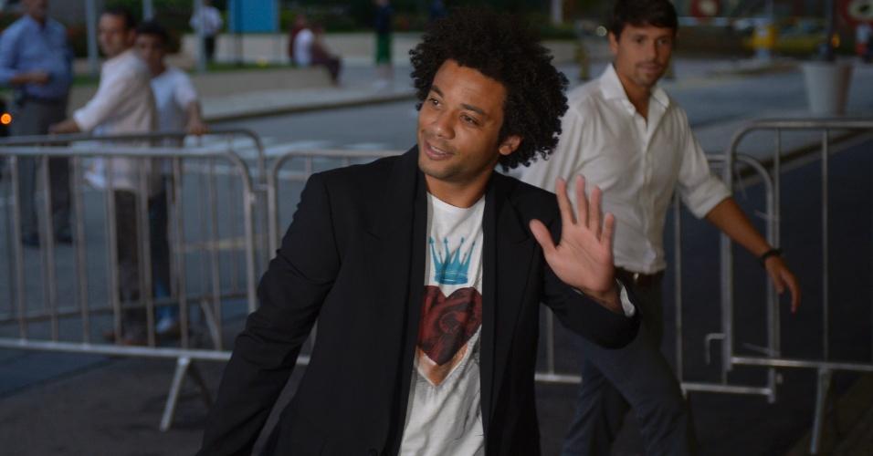 28.05.2013 - Marcelo, lateral do Real Madrid, chega à concentração da seleção brasileiro no Rio de Janeiro, onde começa a preparação para a Copa das Confederações