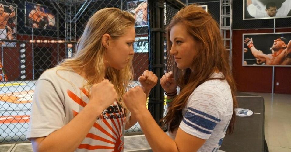 Ronda Rousey e Miesha Tate se encaram na academia do TUF, em Las Vegas; as lutadoras voltam a se encarar no UFC, depois de Ronda bater Miesha no Strikeforce. A revanche acontece porque a rival e técnica do TUF original, Cat Zingano, lesionou o joelho e teve de ser substituída.