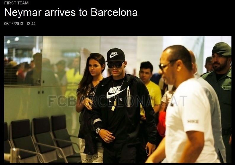 Neymar chega a Barcelona acompanhado da namorada Bruna Marquezine
