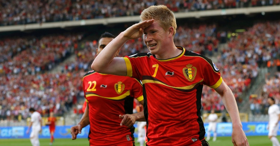 07.jun.2013 - Kevin De Bruyne comemora gol da Bélgica sobre a Sérvia pelas Eliminatórias Europeias
