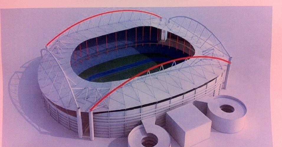 Parte em vermelho indica os arcos que serão reformados na cobertura do Engenhão