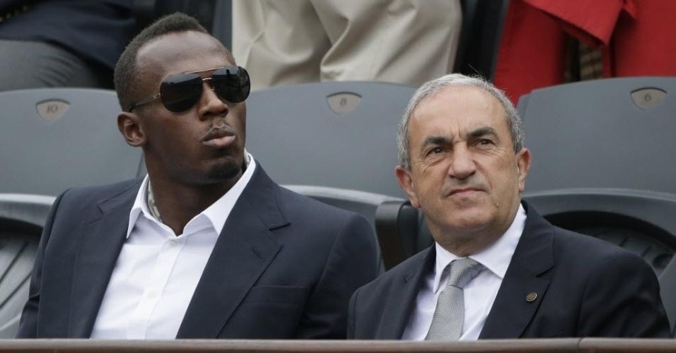 09.jun.2013 - Usain Bolt entregará o troféu de campeão de Roland Garros