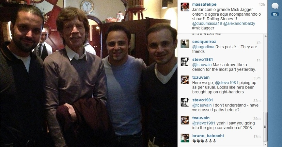 09.jun.2013 - Felipe Massa tieta Mick Jagger e acompanha show dos Rolling Stones no Canadá