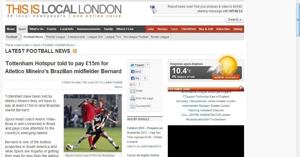 10/06/2013 - Jornal Local London é um dos periódicos ingleses a noticiar o interesse do Tottenham em Bernard