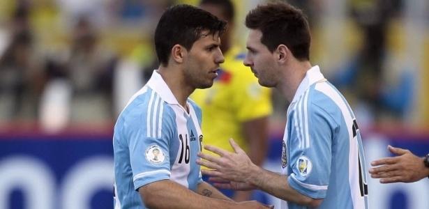Sergio Agüero junto com Messi na seleção argentina