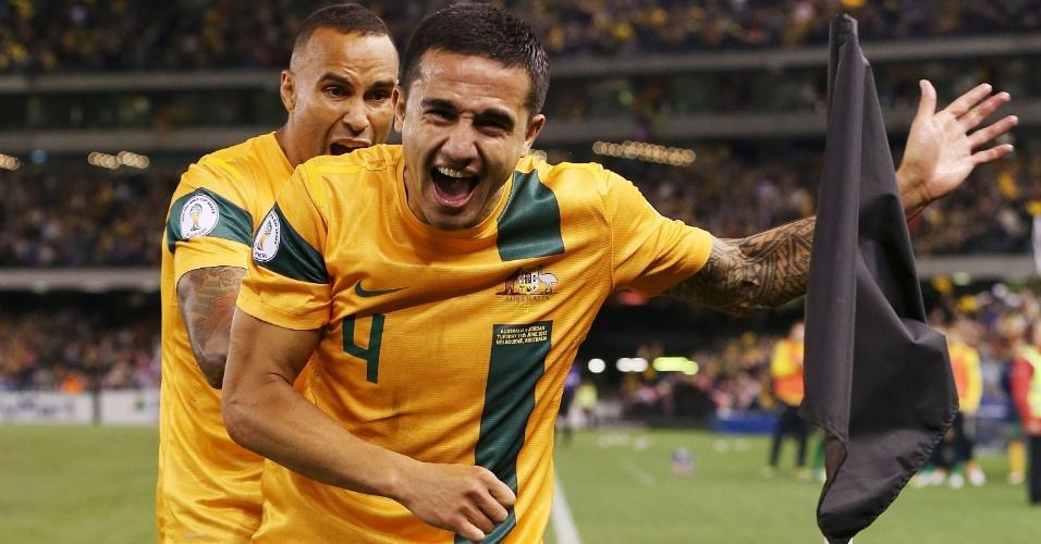11.jun.2013 - Tim Cahill comemora após marcar o segundo gol da Austrália na partida contra a Jordânia pelas eliminatórias da Copa-2014