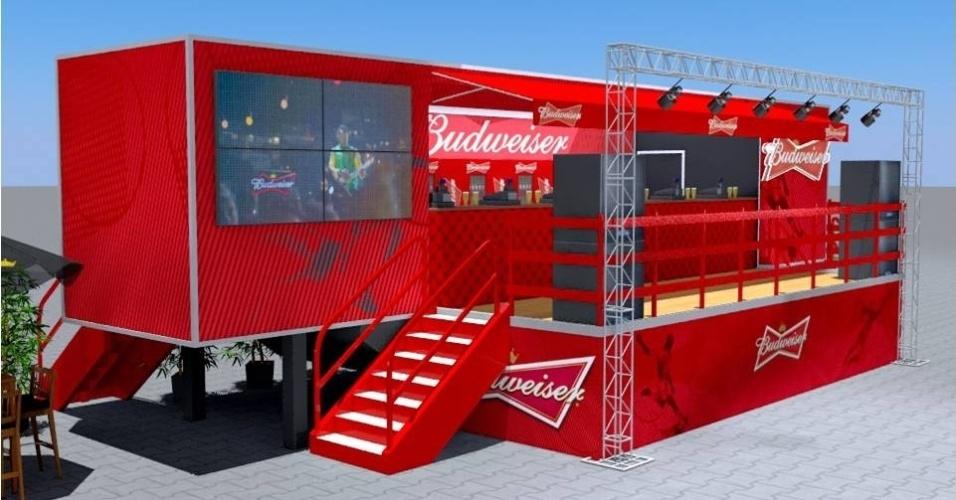 """Na Copa das Confederações, a Arena Pernambuco teve o """"beer garden"""", montado em uma carreta"""