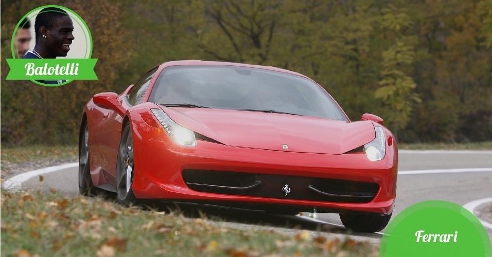 Balotelli, atacante da Itália - Carro: Ferrari