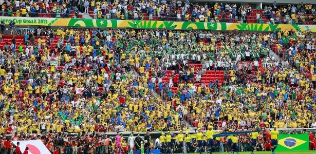 Jogo de abertura no Estádio Mané Garrincha, que tem recursos federais na construção