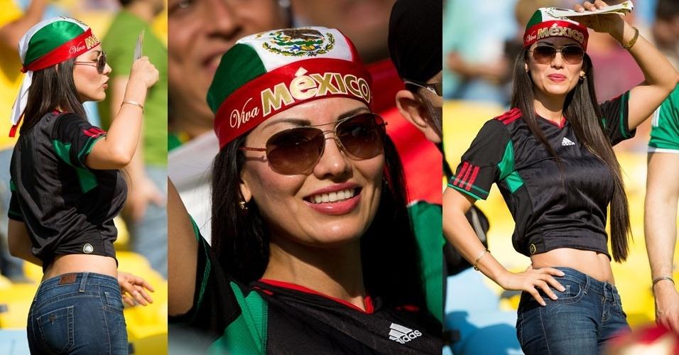 16.jun.2013 - Bela torcedora mexicana exibe curvas na arquibancada do Maracanã antes de México x Itália