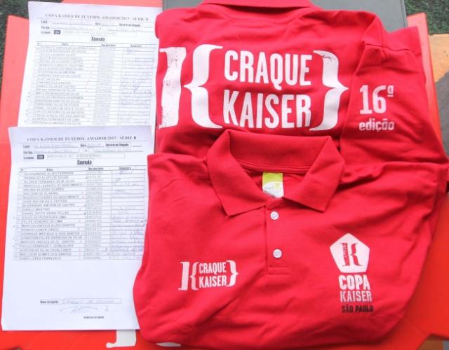 Súmulas e camisetas que serão entregues ao melhor do jogo na rodada da Copa Kaiser