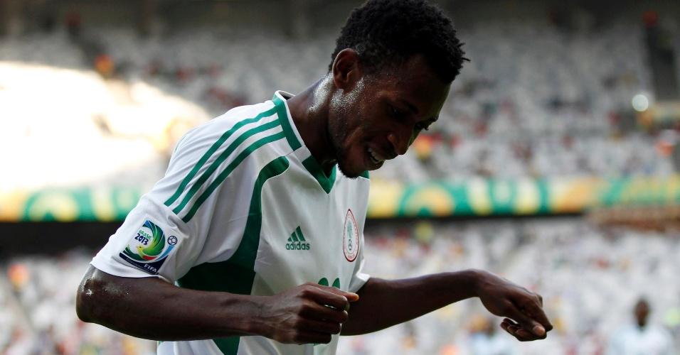 17.jun.2013 - Nnambi Oduamadi comemora um de seus gols marcados na goleada da Nigéria por 6 a 1 sobre o Taiti pela Copa das Confederações