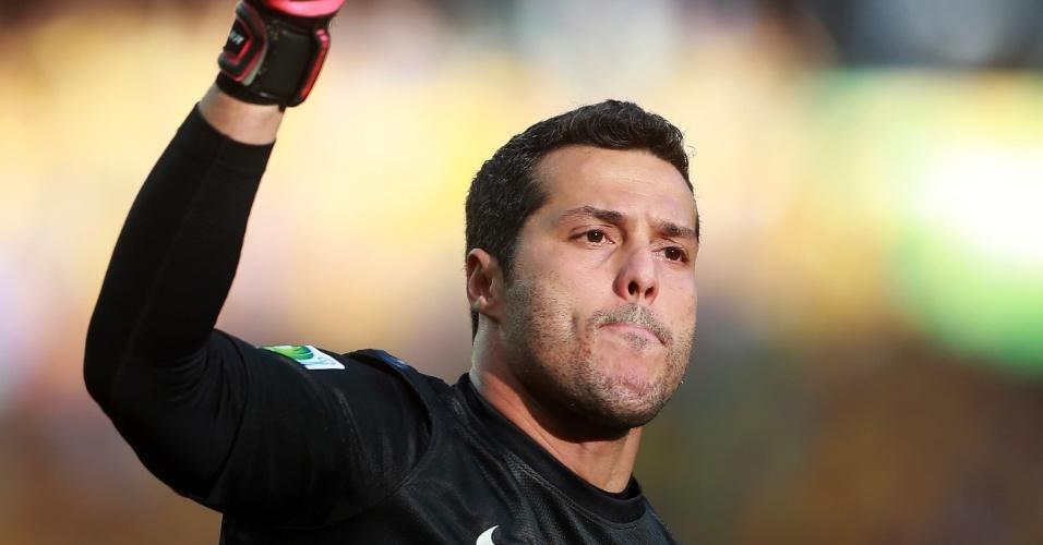 Julio Cesar comemora gol de Neymar contra o México pela Copa das Confederações