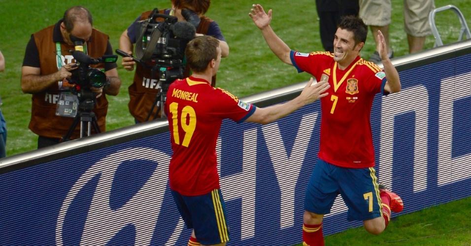 20.junho.2013- Villa comemora mais um em goleada de 10 a 0 da Espanha sobre o Taiti pela Copa das Confederações