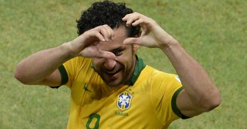 22.jun.2013 - Fred comemora após marcar para o Brasil contra a Itália