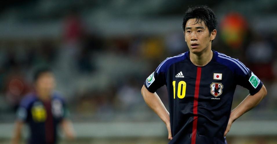 22.jun.2013 - Shinji Kagawa lamenta erro cometido durante a derrota por 2 a 1 para o México no Mineirão pela Copa das Confederações