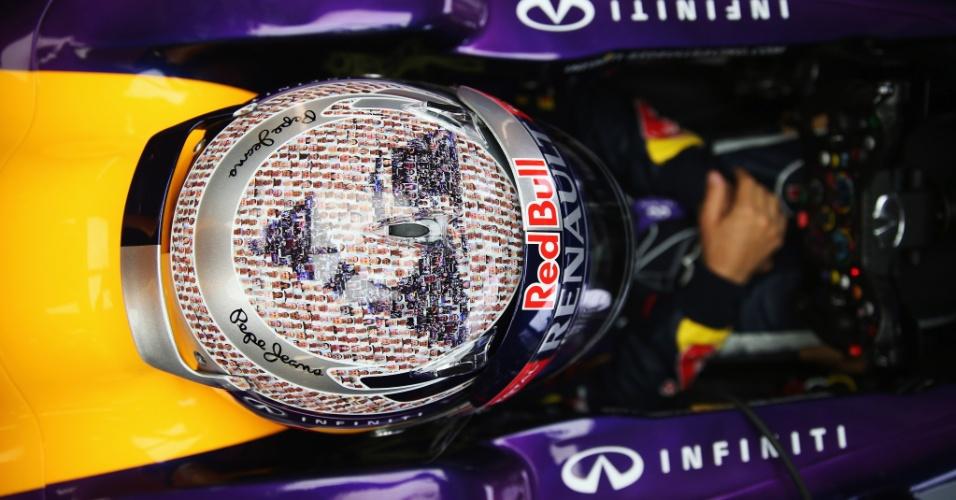 28.jun.2013 - Sebastian Vettel se prepara para entrar na pista de Silverstone nos treinos livres para o GP da Grã-Bretanha